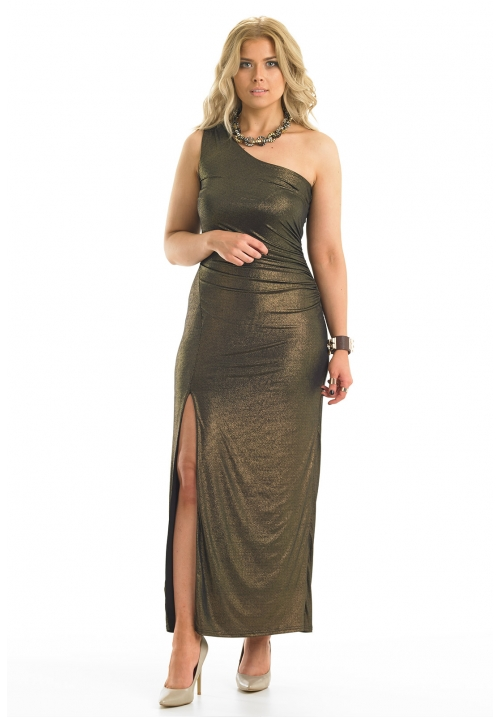 Off The Shoulder Foil Print Dress