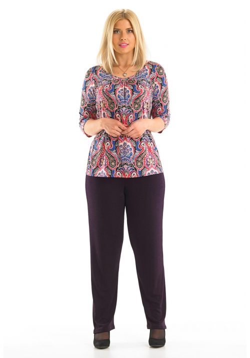 3/4 Sleeve Printed Top With Twist Fabric Neckline