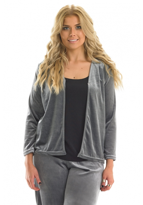 Velour Cardigan with Diamante Button