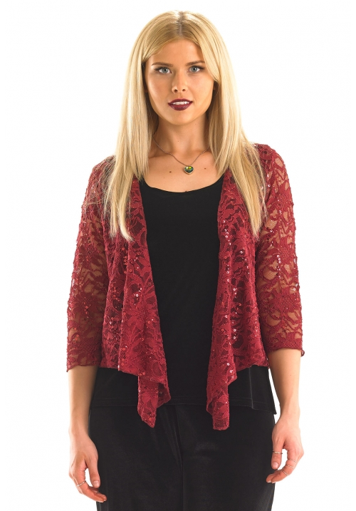 Sequin Lace 3/4 Lace Shrug