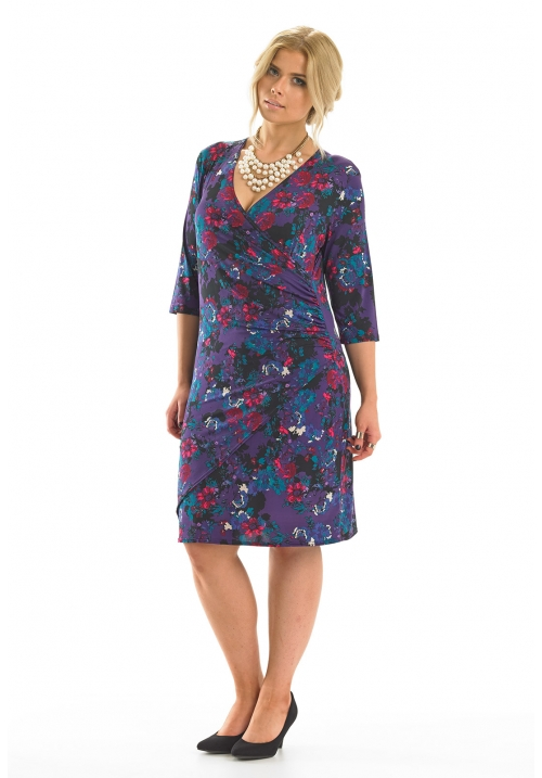 Mock Wrap Printed Dress