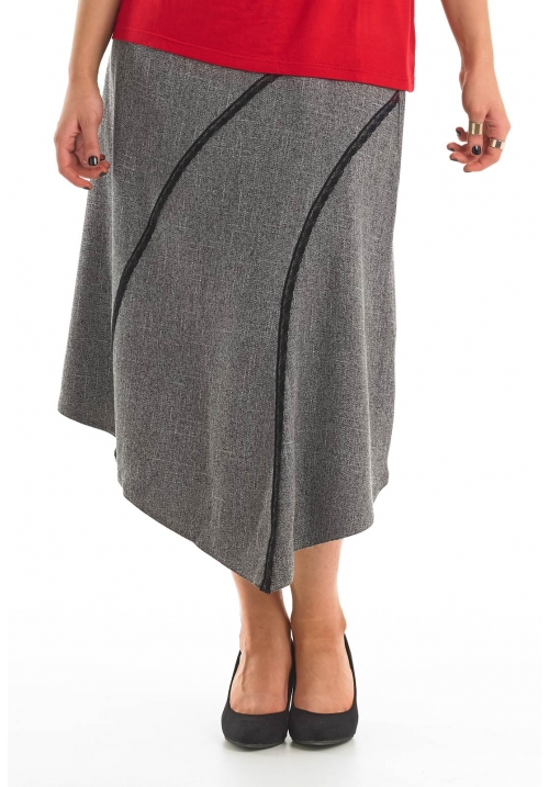 Tweed Skirt With Lace