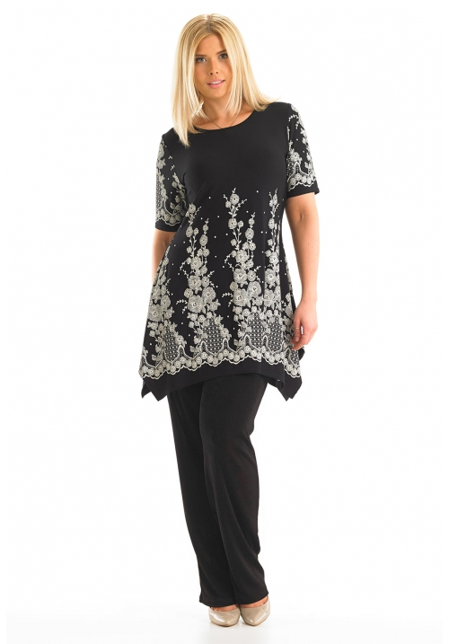 Lace Print Dipped Hem Tunic