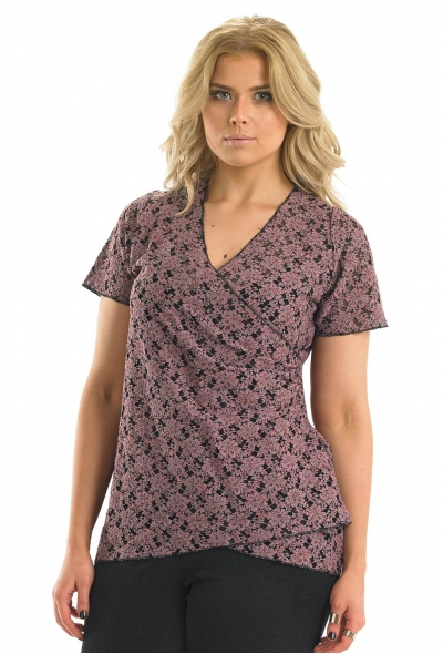 Lace Top With Mock Wrap Detail