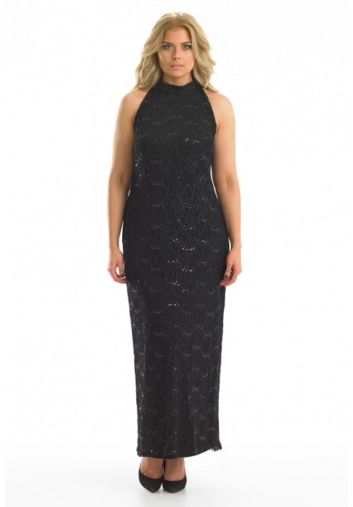 Lace High Neck Maxi Dress