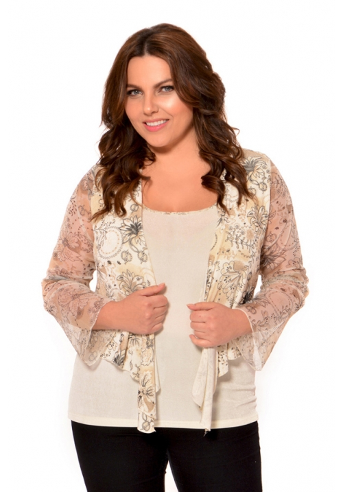 Printed Shrug With Mesh Sleeves And Print Trimmed Camisole Set