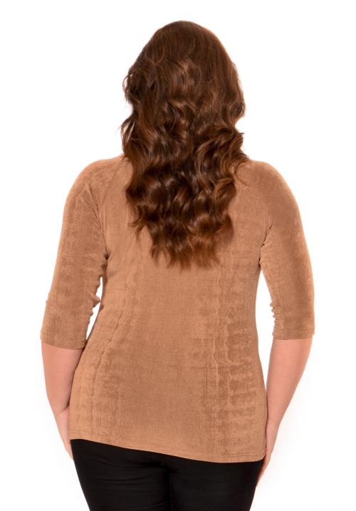 Slinky Top With Lace Neck Trim