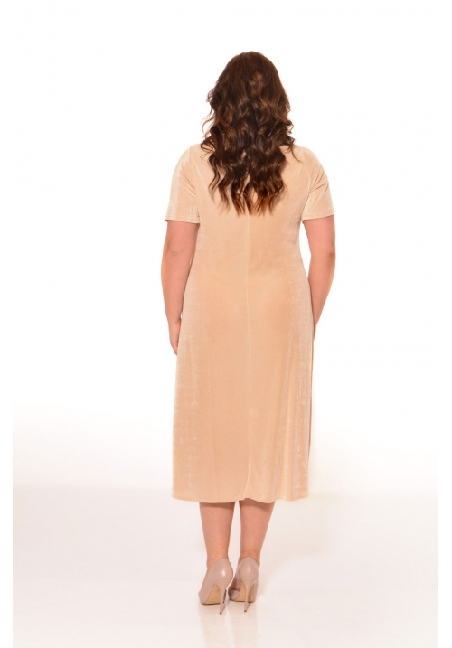 Short Sleeve Slinky V Neck Dress