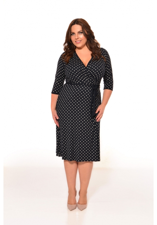 Mock Wrap Dress In Polka Dot Print