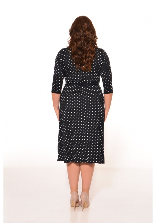 Mock Wrap Dress In Polka Dot Print